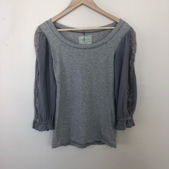 Free People Tops - Free People Gray Lace Arm Top